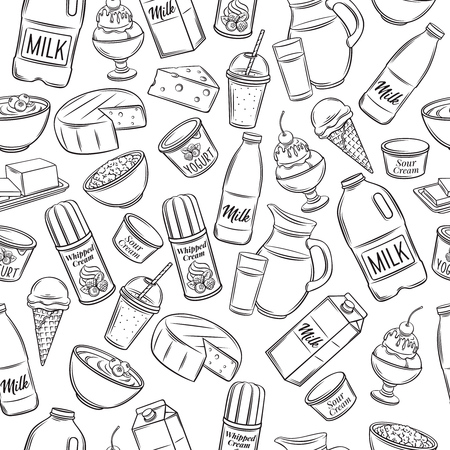 Hand drawn dairy product seamless pattern. Vector illustration.