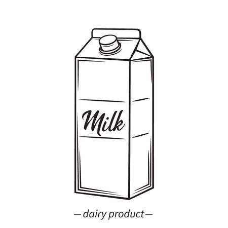 Vector outline milk carton icon. Dairy product illustration. Retro style.