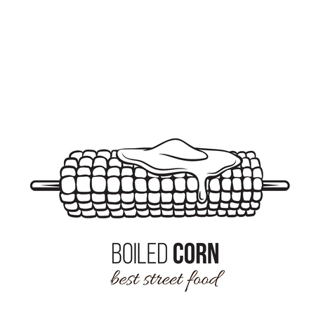 Vector boiled corn on stick. Illustration for design menu street cafe and takeaway food. Retro style. Vetores