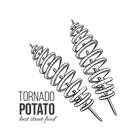 Chip a spirale intrecciati. Patata di tornado di vettore. Illustrazione fast food per design street cafe o cibo da asporto. Stile retrò.
