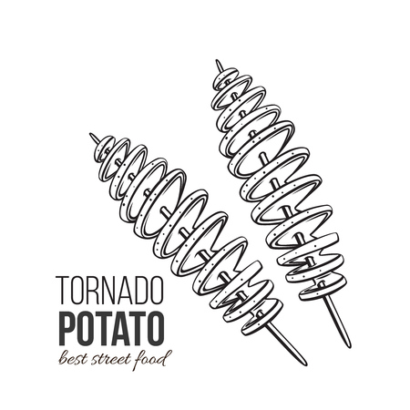 Twisted spiral chips. Vector tornado potato. Illustration fast food for design street cafe or takeaway food. Retro style. Illustration
