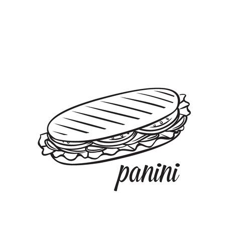 Panini ou sandwich dessiné à la main. Illustration vintage de contour monochrome de vecteur. Vecteurs