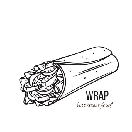 Comida para llevar. Rollitos de tortilla con filete de pollo a la parrilla y verduras frescas. Almuerzo en la calle. Ilustración de vector.