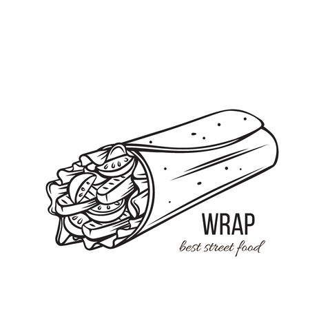 Takeaway food. Tortilla wraps with grilled chicken fillet and fresh vegetables . Street lunch. Vector illustration. Иллюстрация