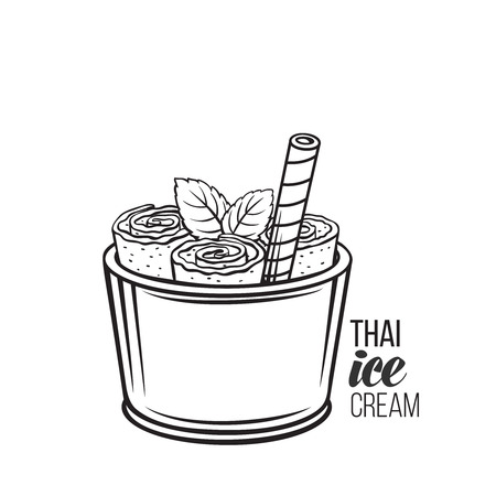 Thai ice cream roll Illustration