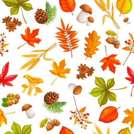 Seamless pattern with autumn leaves maple, oak, elm, mushrooms, fir cones and autumn berries. vector illustration.