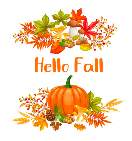 Seasonal hello fall banners with autumn foliage maple, oak, elm, pumpkin, chestnut, leaves rhus typhina and autumn berries for advertising shop. Ilustração