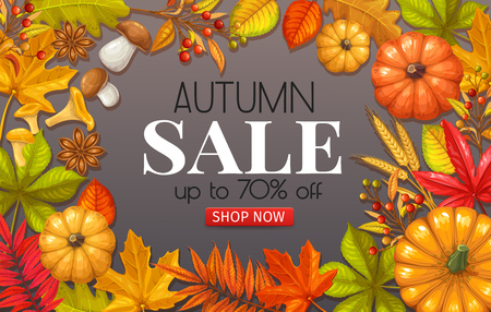 Seasonal fall sale poster with autumn foliage of maple, oak, elm, chestnut, nuts, pumpkin, wheat and autumn berries on wooden background.