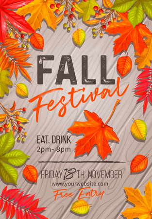 Seasonal fall festival poster or flyer with autumn foliage of maple, oak, elm, chestnut, nuts, wheat and autumn berries on wooden background.