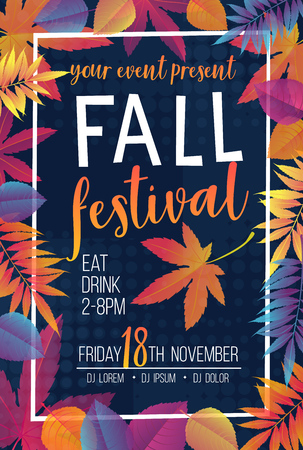 Trendy seasonal fall festival poster or flyer with gradient bright autumn foliage of maple, oak, elm and chestnut.
