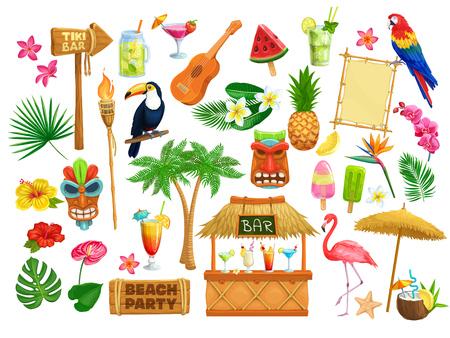 Icone del partito della spiaggia hawaiana di vettore. Maschera tribale Tiki, cartello in legno, uccelli tropicali, cocktail, anguria, torcia, foglie e fiori. Chitarra, gelato alla frutta e ananas per vacanze luau di design.