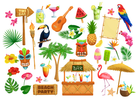 Vector hawaiian beach party icons. Tiki tribal mask, wooden signboard, tropical birds, cocktails, watermelon, torch, leaves and flowers. Guitar, fruit ice and pineapple for design luau holiday.