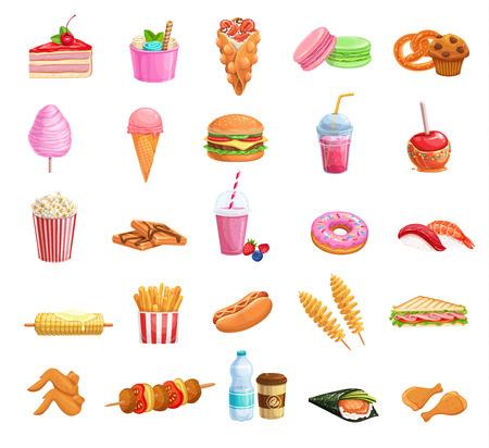Street food icons set. Takeaway meals bubble waffles, hong kong, spiral potato chips, lemonade and apples in caramel. Vector illustration fast food french fries, hamburger,japanese sushi and barbecue Illustration
