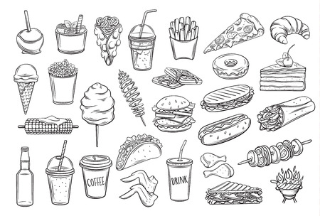 Street food icons set. Takeaway meals bubble waffles, hong kong, spiral potato chips, lemonade and apples in caramel. Retro vector illustration fast food french fries, hamburger, tacos and barbecue