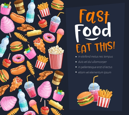 Fast Food poster. Takeaway meals or street food background with bubble Hong Kong waffles, spiral potato chips, lemonade and apples in caramel, hamburger and hot dog. Vector illustration.