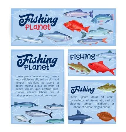 Fish banners, seafood temlplate