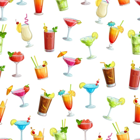 Alcoholic cocklails seamless pattern