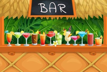 Beach tiki bar, alcoholic cocktails, Illustration