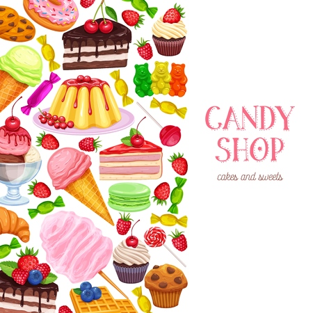 Confectionery and sweets layout, menu design. Vector donut and cotton candy, muffin, waffles, biscuits and jelly. Dessert, lollipop, ice cream with candied, macaron and pudding. 向量圖像