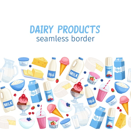 Seamless border dairy products. Background with cottage cheese, milk, butter, cheese and sour cream. Yogurt, ice cream, smoothies, whipped cream for design market farm product.