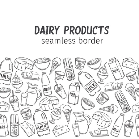 Dairy product, seamless border. Engraving yogurt, milk, cottage cheese and smoothies. Sketch butter, sour cream, camembert and whipped cream. Sketch vector, retro style.