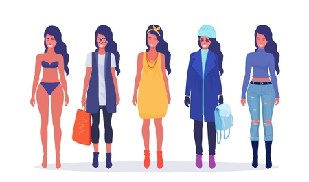 Young woman in casual seasonal clothes. Fashion, cartoon style. Vector illustration.