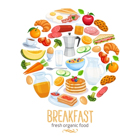 Breakfast banner, food design vector. Jug of milk, coffee pot, cup, fruits and vegetables. Baking, orange juice, sandwich and fried eggs. Pancakes and toast with jam. Vetores