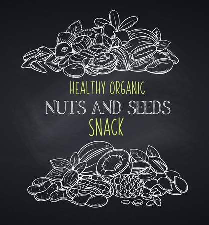 Nuts and seeds banners, chalkboard style. Cola nut, pumpkin seed, peanut and sunflower seeds. Pistachio, cashew, coconut, hazelnut and macadamia. Vector illustration.