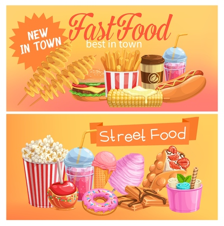 Fast Food banners. Takeaway meals or street food background with bubble Hong Kong waffles, spiral potato chips, lemonade and apples in caramel, hamburger and hot dog. Vector illustration. Vecteurs