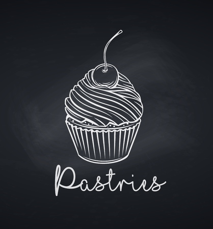 Hand drawn cupcake icon. Vector illustration dessert confectionery with cherry. Chalkboard style