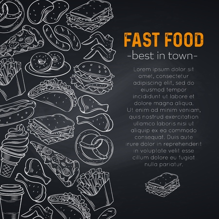 Hand drawn fast food, page template, cafe menu design. Vector sketch illustration with snacks, hamburger, fries, hot dog, tacos, coffee, sandwich and ice cream