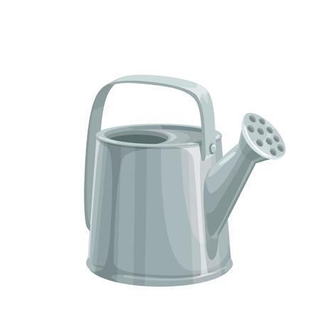 Garden metal watering can. Cartoon style. Illustration of Garden tools.