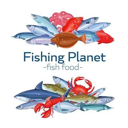 Fish banners Stock Illustratie