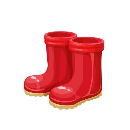 Red Rubber Garden boots. Protection shoes, waterproof footwear or working uniform. Waterproof footwear.