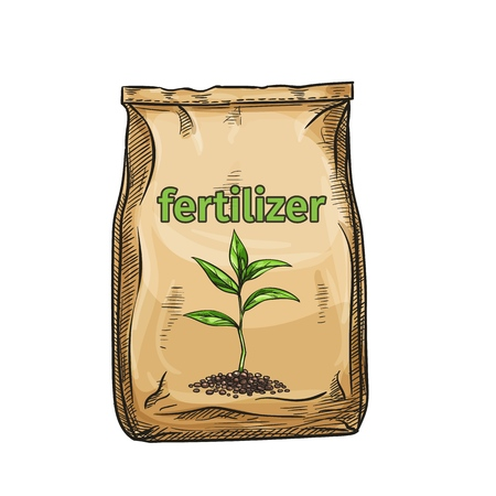 Vector fertilizer icon for design product garden center and gardening, sketch style