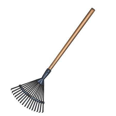 Ikona grabie ogrodowe, styl szkic. Ilustracja narzędzi ogrodniczych. Ilustracje wektorowe