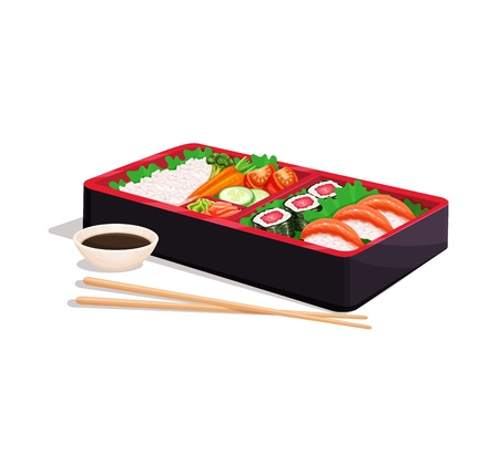 Bento Japanese lunch box. Concept of Asian food. Vector illustration Illustration
