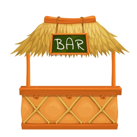 Barra tiki. Ilustración para fiesta hawaiana de diseño.