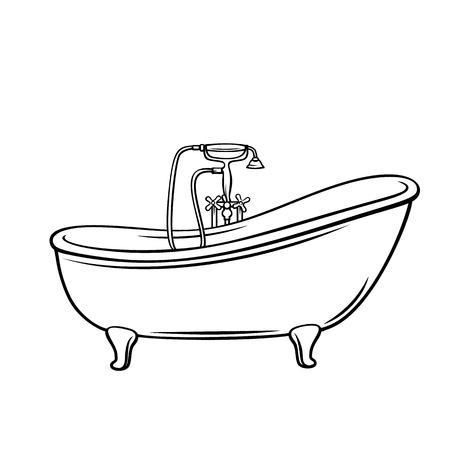Badewannensymbol für Hausinstallationen. Umriss-Vektor-Illustration Vektorgrafik