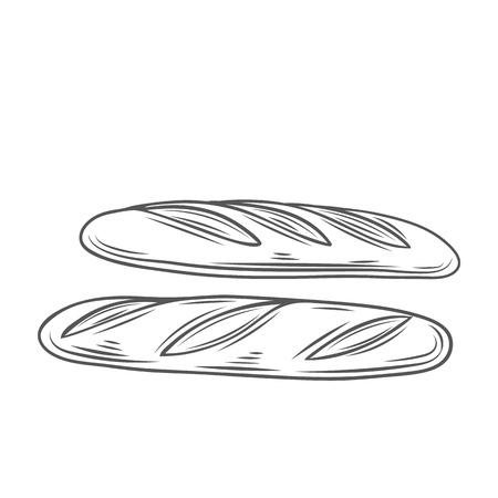 Baguette bread, outline