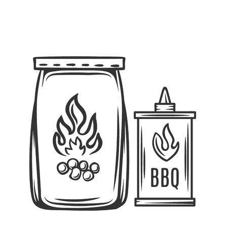 Barbecue charcoal, hand drawn vector. BBQ icon engraving