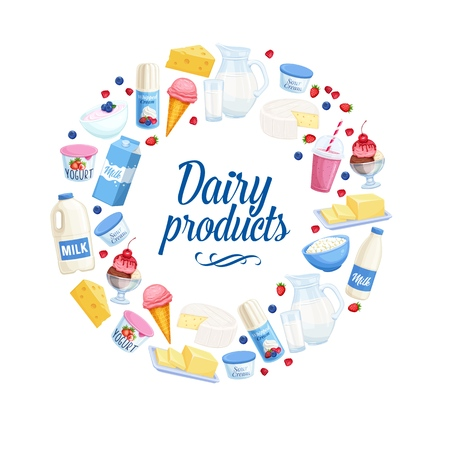 Dairy products icons. Cottage cheese, milk, butter, cheese and sour cream. Yogurt, ice cream, smoothies, whipped cream for design market farm product Ilustração