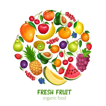 Berries and Fruits Design Healthy Food in Cartoon Style. Raspberries, Strawberries, Grapes, Currants and Blueberries. Lemon, Peach, Apple or Pear, Orange, Watermelon, Avocado and Pineapple Illustration