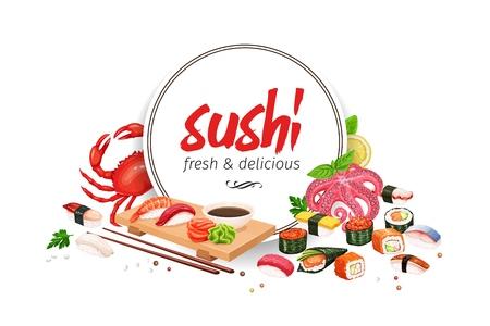 Sushi banner, japanese food for design asian cuisine promotion design. Vector illustration.