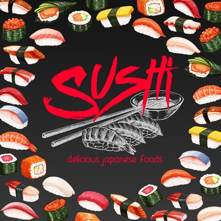 Vector layout design japanese sushi roll for asian cuisine promotion template.