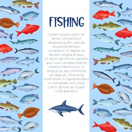 Modello di pesca in mare. Design della pagina dei pesci. Layout di frutti di mare, salmone cartone animato, acciughe, merluzzo, branzino, pesce persico e sardine. Icona di sgombro, aringa, tonno dorado halibut tilapia e trota.