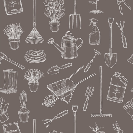 Gardening seamless pattern with tools, flowers , Rubber boots, seedling, tulips, gardening can or fertilizer, glove, crocus and etc. for design garden center