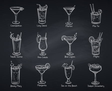 Tropical cocklails. Summer alcoholic drinks. Beach party vector illustration. Long island, bloody mary, cosmopolitan, margarita, mai tai, pina colada and blue lagoon. Chalkboard style