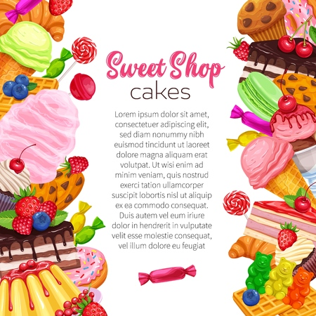 Posters template with confectionery and sweets. Dessert, lollipop, ice cream with candied, macaron and pudding. Donut and cotton candy, muffin, waffles, biscuits and jelly