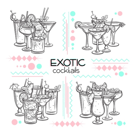 Alcoholic cocklails banners. Summer beach alcoholic drinks. Engraving holiday and beach party vector background. Long island, bloody mary, margarita, mai tai, pina colada, blue lagoon Illustration